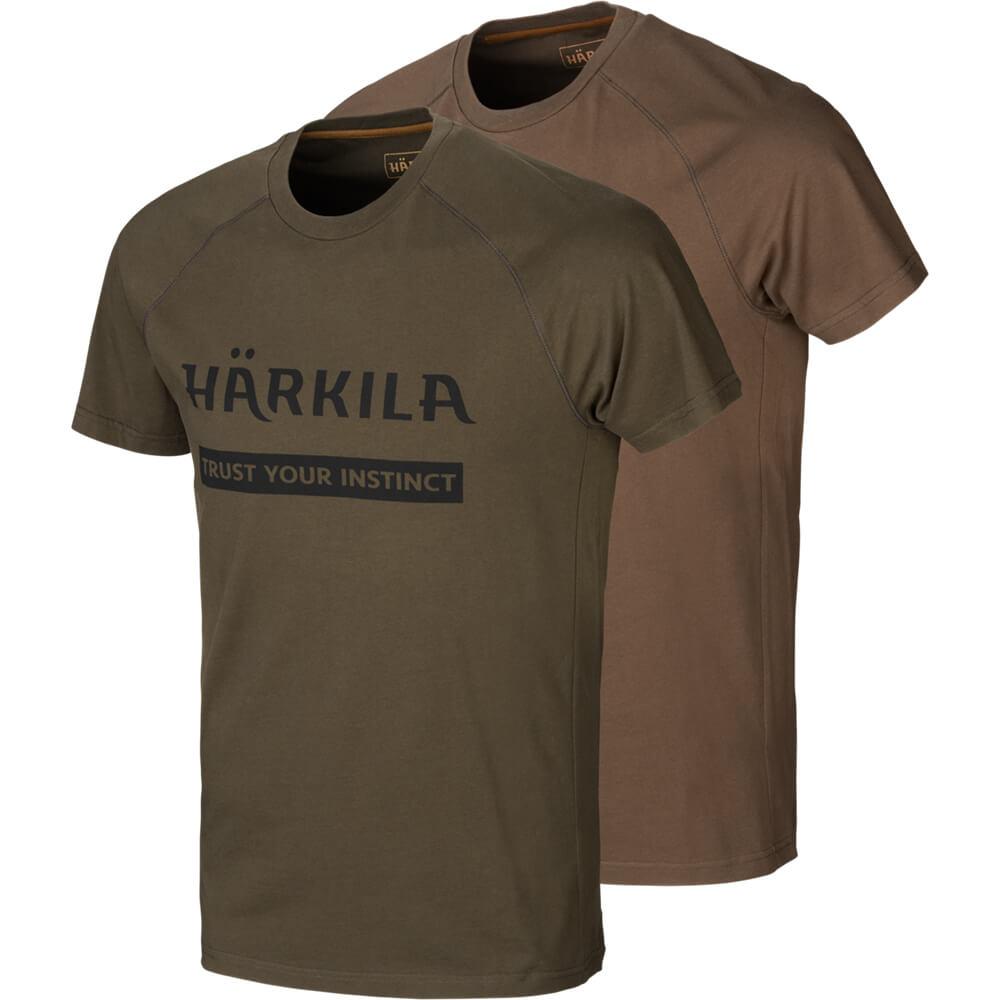 Härkila T-Shirt 2er-pack Logo (Willow Green/Slate Brown)