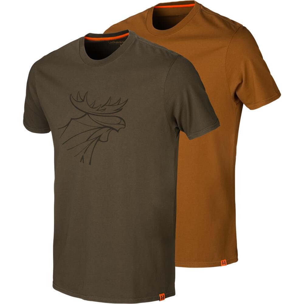 Härkila T-Shirt 2er-pack Graphic (Willow Green/Rustique) - Shirts