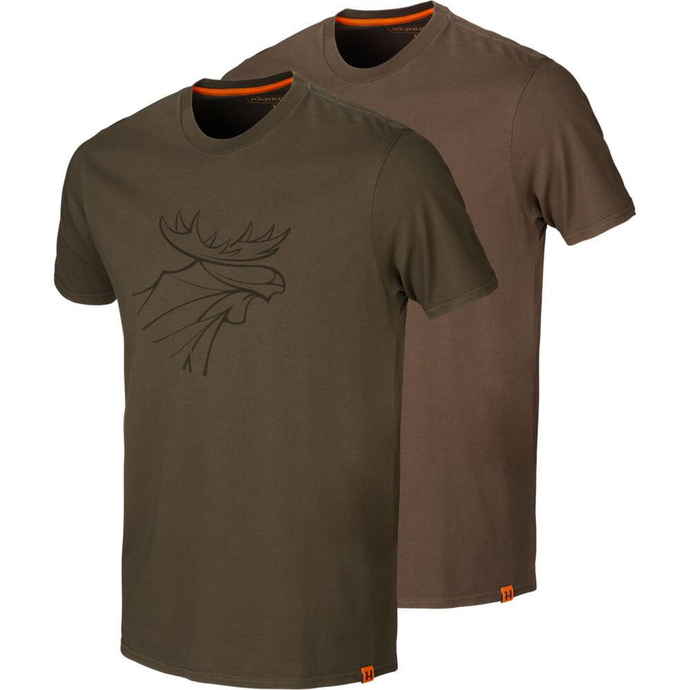 Härkila T-Shirt 2er-pack Graphic (Willow Green/Slate Brown) - Shirts