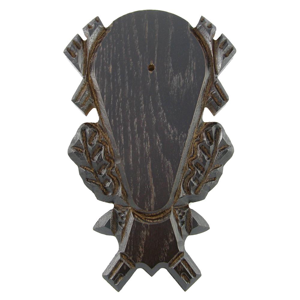 Gehörnbrett mit Kieferfach (dunkel, verziert) - Trophäenberarbeitung