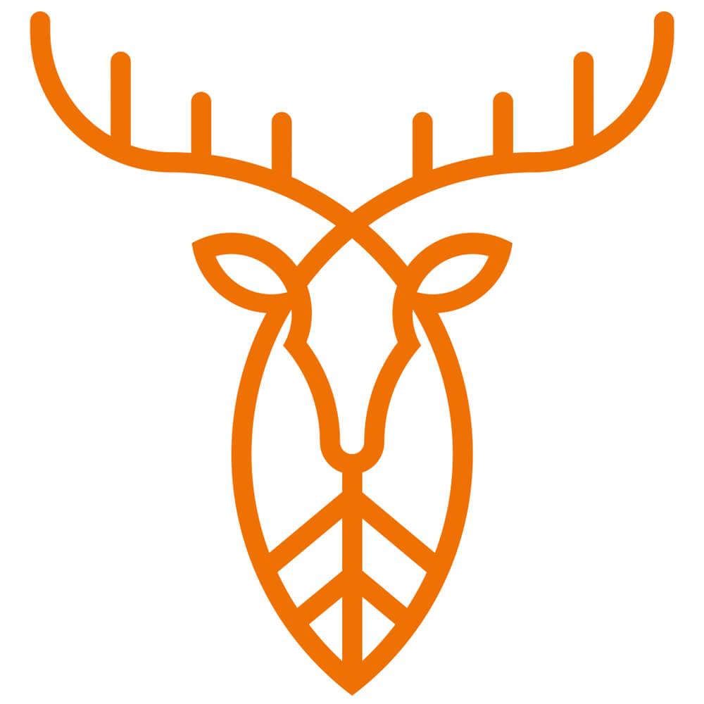 Pirscher Aufkleber Hirsch (Orange)