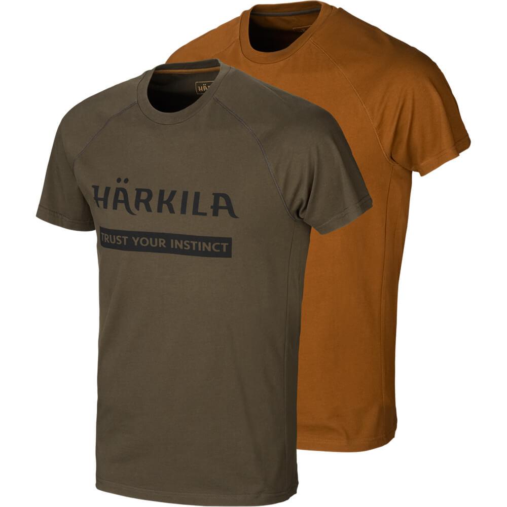 Härkila T-Shirt 2er-pack Logo (Willow Green/Rustique) - Shirts
